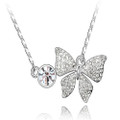 Beautiful & Elegant Butterfly White Crystal Pendant, Women Necklace