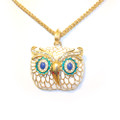 Beautifully Detailed White Owl Pendant Sweater Necklace for Women