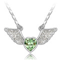 Heart with Wings Peridot Green Crystal Pendant, Women Necklace FREE  Chain