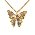 Lovely Antique Multi Color Stone Butterfly Pendant Sweater Necklace