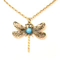 Lovely Antique Turquoise Dragonfly Pendant Sweater Necklace