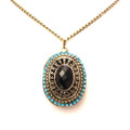 Fashion and Beautiful Antique Oval Pendant Sweater Necklace