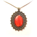 Fashion Antique Oval Pendant Sweater Necklace