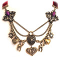 Satin Ribbon Antique Royal Charm Style Sweater Necklace