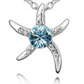 Starfish with BlueTopaz Crystal Pendant, Women Necklace FREE  Chain