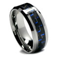 8MM Men Tungsten Ring, Black and Blue Carbon Fiber Inlaid, Flat Top, High Polish Finish