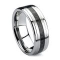 8MM Men Tungsten Ring, High Polish with Black Carbon Fiber Inlaid