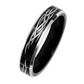 6MM Women Black Tungsten Wedding Band, Laser Etching Tribal Design