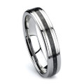 6MM Women Black Tungsten Wedding Band, Flat Top, High Polish, Black Carbon Fiber