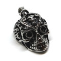 Tribal Swirl 316L Stainless Steel Skull Pendant Necklace, 600MM Chain