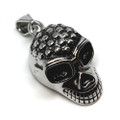 Studded Punk Rock 316L Stainless Steel Skull Pendant Necklace, 600MM Chain