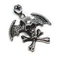Wings and Cross Bones 316L Stainless Steel Skull Pendant Necklace, 600MM Chain