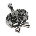 Stainless Steel Large Winged Skull and Crossbones Pendant Necklace, 600MM Chain