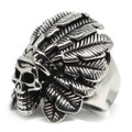 Native American Headdress Skull, Stainless Steel Ring