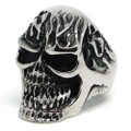 Evil Enflamed Skull, Stainless Steel Ring