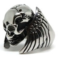 Flying Cracked Skull Stainless Steel Ring