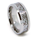 8MM Men Tungsten Ring, Flat Top with Silver Dragon Design, High Polish Bevel Edge