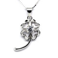 925 Sterling Silver 4 Leaf Clover Pendant Necklace,  Cubic Zirconia Free Chain