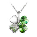 Peridot Green Crystal Four Heart Clover Necklace, 18K Gold Plated, FREE  Chain
