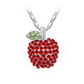 18K Gold Plated Red Crystal Apple Necklace, Elegant and Luxurious Design