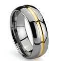 Tungsten Ring, Wedding Band , Domed, High Polish, Groove with Gold Plated, 8MM