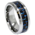Tungsten Ring, Wedding Band, Polished Tungsten with Blue & Black Carbon Fiber Inlaid, 8MM