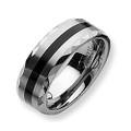 Tungsten Ring,  Wedding Band, Chrome with Black Resin Inlaid, Facet Edge, 8MM