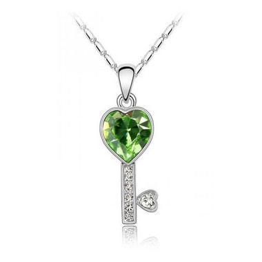 18k gold plated green heart crystal key pendant necklace free 18 image 1 aloadofball Gallery