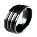 Black Titanium Ring , Wedding Band, Flat Top with Double Grooved Lines, 8MM