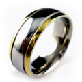 Titanium Ring,  Wedding Band, High Polish with Double Gold Plated Lines, Domed, 8MM