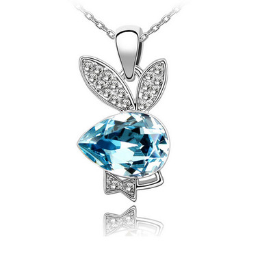 18k gold plated blue crystal playboy bunny rabbit pendant necklace top 18k gold plated blue crystal playboy bunny rabbit pendant necklace aloadofball Image collections