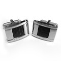 Stainless Steel with Squared Black Carbon Fiber Cuff Links