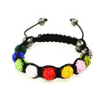 Brilliant Multi-Colorco Unisex Shamballa Bracelet with Hematite Accents
