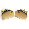 Gold Plated Stainless Steel with Stone Inlaid Cuff Links