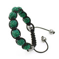 Brilliant Emerald Beads Unisex Shamballa Bracelet with Hematite Accents
