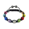 Brilliant Multi Color Disco Ball Shamballa Bracelet w/ Hematite Accents
