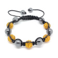 Orange Bead Hematite Bead Shamballa Bracelet, Adjustable Woven