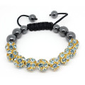 Hematite Bead and Aqua Gem Disco Ball Bead with Gold Tone Setting Bracelet