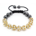 Hematite Bead and Clear Gem Disco Bead with Gold Tone Setting Bracelet