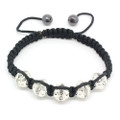 Crystal Adorned Silver Tone Bead Bracelet Unisex Adjustable Woven