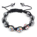 Multi Color Disco Ball Beads with Hematite Beads Shamballa Bracelet