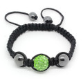 Lovely Three Bead Green Crystal Disco Ball, Unisex Shamballa Bracelet