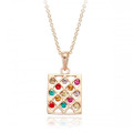 Beautiful Necklace with Multi-colored Crystal Accents, 18k Gold Plated