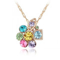 Captivating Flower Necklace Multi-colored Crystal Accents