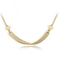 Elegant Curved Bar Pendant Necklace for Women with Crystal Accents