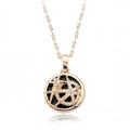 Distinctive Double Circle Pendant Necklace for Women with Crystal Accents