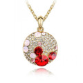 Sparkling Disc Necklace with Multi-colored Crystal Accents