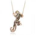Very Chic Leopard Pendant Necklace for Women with Clear Crystal Accents