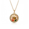 Dazzling Circle Pendant Necklace for Women with Crystal Accents