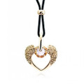 Sweet Angel Wing Heart Pendant Necklace for Women with Crystal Accents
